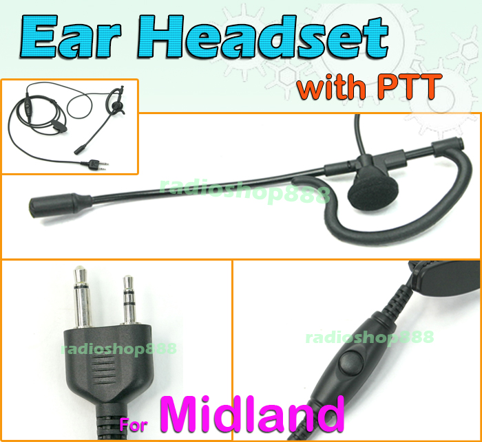 ear headset 4 052s2 with ptt midland lxt435 lxt440lxt460 lxt480 gxt760 gxt795