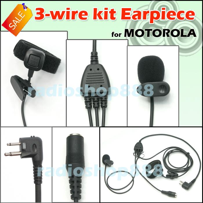 3 wire kit earpiece for motorola 4 091m ebay