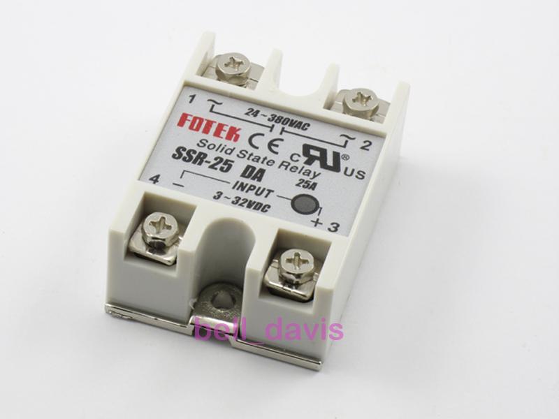 Salida 24v-380v 25a ssr-25 da Estado sólido de relé para PID Regulador De Temperatura